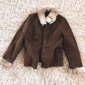 Vegan fur trimmed and suede jacket brown boho